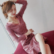 Dress Autumn of 2018 Picture color S M L XL Mid length dress singleton  Long sleeves commute V-neck High waist Solid color Socket A-line skirt pagoda sleeve Others 25-29 years old Type A City of fragrance lady Tassel stitching zipper resin fixation lace 3D AF6188 More than 95% Lace polyester fiber