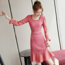 Dress Winter 2020 Picture color S M L XL Middle-skirt singleton  Long sleeves commute square neck High waist Solid color Socket Ruffle Skirt Lotus leaf sleeve Others 25-29 years old Type A City of fragrance Korean version AF07581 91% (inclusive) - 95% (inclusive) cotton Pure e-commerce (online only)