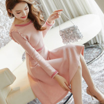 Dress Winter of 2018 M L XL S Middle-skirt singleton  Long sleeves commute Crew neck middle-waisted Solid color Socket Big swing routine Others 25-29 years old Type A City of fragrance lady 51% (inclusive) - 70% (inclusive) knitting acrylic fibres Pure e-commerce (online only)