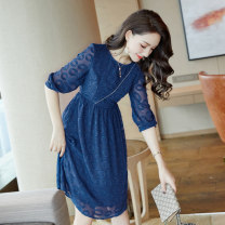Dress Spring of 2019 Picture color S M L XL Middle-skirt singleton  three quarter sleeve commute Crew neck High waist Solid color Socket Big swing routine Others 25-29 years old Type X City of fragrance Korean version AF6482 More than 95% other polyester fiber Polyester 100%