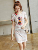 Dress Autumn of 2019 Picture color S M L XL Middle-skirt singleton  Short sleeve commute Crew neck middle-waisted stripe Socket A-line skirt routine Others 18-24 years old Type X City of fragrance Korean version AF6842 More than 95% cotton Cotton 95% polyurethane elastic fiber (spandex) 5%