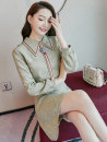 Dress Autumn of 2019 Picture color S M L XL Middle-skirt singleton  Long sleeves commute Doll Collar middle-waisted Solid color Socket A-line skirt routine Others 25-29 years old Type X City of fragrance Korean version Splicing AF7015 71% (inclusive) - 80% (inclusive) polyester fiber