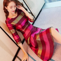 Dress Autumn of 2018 Picture color S M L XL Mid length dress singleton  three quarter sleeve commute Crew neck High waist stripe Socket A-line skirt routine Others 25-29 years old Type A City of fragrance lady Stitching zipper resin fixation 3D More than 95% other polyester fiber