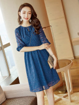 Dress Autumn of 2019 Picture color S M L XL Middle-skirt singleton  Short sleeve commute Crew neck middle-waisted Solid color zipper A-line skirt other Others 25-29 years old Type X City of fragrance Korean version AF66482 More than 95% polyester fiber Polyethylene terephthalate (polyester) 100%