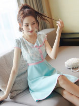 Dress Summer of 2019 Picture color S M L XL Middle-skirt singleton  Short sleeve Sweet V-neck High waist Solid color Socket A-line skirt routine Others 18-24 years old Type A City of fragrance AF6734 More than 95% polyester fiber Polyethylene terephthalate (polyester) 100% college
