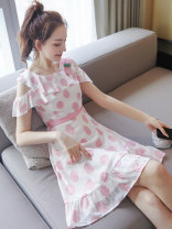 Dress Summer of 2019 Picture color S M L XL Middle-skirt singleton  Short sleeve street square neck middle-waisted Decor Socket Ruffle Skirt raglan sleeve Others 18-24 years old Type X City of fragrance More than 95% polyester fiber Polyethylene terephthalate (polyester) 100% Europe and America