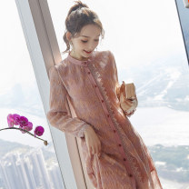 Dress Spring 2020 Picture color S M L XL Middle-skirt singleton  Long sleeves commute Crew neck middle-waisted Decor Single breasted A-line skirt routine Others 25-29 years old Type X City of fragrance Korean version More than 95% polyester fiber Polyethylene terephthalate (polyester) 100%