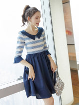 Dress Autumn of 2019 Picture color S M L XL Middle-skirt singleton  three quarter sleeve commute Doll Collar middle-waisted stripe Socket A-line skirt Lotus leaf sleeve Others 18-24 years old Type X City of fragrance Korean version AF6878 More than 95% polyester fiber Pure e-commerce (online only)