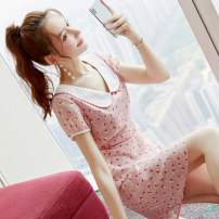 Dress Summer 2020 Picture color S M L XL Middle-skirt singleton  Short sleeve commute Doll Collar middle-waisted Decor zipper A-line skirt routine Others 18-24 years old Type X City of fragrance Korean version AF07311 More than 95% polyester fiber Polyester 100% Pure e-commerce (online only)