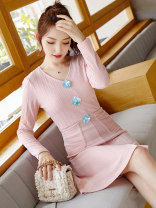 Dress Spring 2020 Pink S M L XL Mid length dress singleton  Long sleeves commute V-neck middle-waisted Socket A-line skirt routine Others 18-24 years old Type X City of fragrance Korean version AF77008 More than 95% polyester fiber Pure e-commerce (online only)