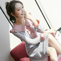 Dress Spring 2020 Picture color S M L XL Mid length dress singleton  Long sleeves commute V-neck middle-waisted zipper Big swing routine Others 18-24 years old Type X City of fragrance Korean version 51% (inclusive) - 70% (inclusive) cotton Cotton 65% polyamide fiber (nylon) 35%