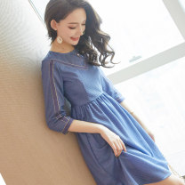 Dress Spring of 2019 Picture color M S L XL Middle-skirt singleton  three quarter sleeve commute Crew neck High waist Solid color Socket A-line skirt routine Others 18-24 years old Type A City of fragrance lady More than 95% polyester fiber Polyethylene terephthalate (polyester) 100%