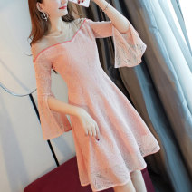 Dress Autumn of 2018 Picture color S M L XL Mid length dress singleton  Nine point sleeve commute One word collar High waist Solid color Socket Big swing Flying sleeve Others 18-24 years old Type A City of fragrance lady Stitching mesh zipper with resin fixed lace AF6130 More than 95% Lace other