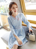 Dress Autumn of 2019 Picture color S M L XL Middle-skirt singleton  Long sleeves street V-neck middle-waisted Solid color zipper A-line skirt routine Others 18-24 years old Type X City of fragrance AF6969 More than 95% polyester fiber Polyethylene terephthalate (polyester) 100% Europe and America