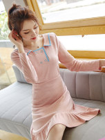 Dress Autumn of 2019 Picture color S M L XL Mid length dress singleton  Long sleeves commute Polo collar middle-waisted Socket Big swing routine Others 18-24 years old Type X City of fragrance Korean version AF6983 More than 95% polyester fiber Pure e-commerce (online only)