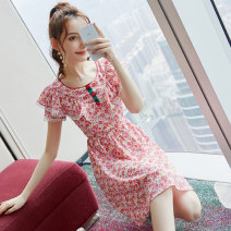 Dress Summer 2020 Picture color S M L XL Middle-skirt singleton  Short sleeve commute Crew neck middle-waisted Decor zipper A-line skirt routine Others 25-29 years old Type X City of fragrance Korean version AF07321 More than 95% polyester fiber Polyester 100% Pure e-commerce (online only)