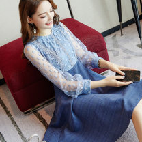 Dress Spring of 2019 Picture color S M L XL Middle-skirt singleton  Long sleeves commute Crew neck High waist Solid color Socket Big swing routine Others 25-29 years old Type A City of fragrance lady AF6413 51% (inclusive) - 70% (inclusive) cotton Cotton 55% polyamide 45%