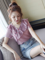 Lace / Chiffon Summer of 2019 Picture color free sling M L XL S Short sleeve street Socket singleton  easy Regular V-neck routine 18-24 years old City of fragrance AF6761 96% and above Polyethylene terephthalate (polyester) 100% Pure e-commerce (online only) polyester fiber Europe and America