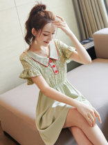 Dress Summer of 2019 Picture color S M L XL Middle-skirt singleton  Short sleeve street Doll Collar High waist Solid color Socket A-line skirt Lotus leaf sleeve Others 25-29 years old Type A City of fragrance More than 95% Chiffon polyester fiber Polyethylene terephthalate (polyester) 100%