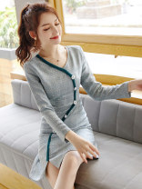 Dress Spring 2020 Picture color S M L XL Middle-skirt singleton  Long sleeves commute V-neck middle-waisted lattice Socket A-line skirt routine Others 18-24 years old Type X City of fragrance Korean version AF66972 81% (inclusive) - 90% (inclusive) polyester fiber Pure e-commerce (online only)
