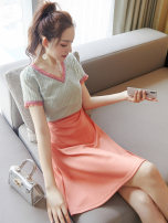 Dress Summer of 2019 Picture color S M L XL Middle-skirt singleton  Short sleeve street V-neck High waist Solid color Socket A-line skirt routine 25-29 years old Type A City of fragrance AF6741 More than 95% polyester fiber Polyethylene terephthalate (polyester) 100% Pure e-commerce (online only)