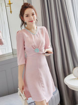 Dress Autumn of 2019 Picture color S M L XL Middle-skirt singleton  three quarter sleeve commute V-neck middle-waisted Socket A-line skirt routine Others 18-24 years old Type X City of fragrance Korean version AF6883 71% (inclusive) - 80% (inclusive) polyester fiber Pure e-commerce (online only)