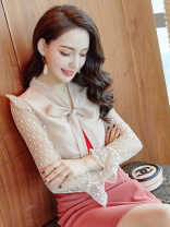 Lace / Chiffon Autumn of 2019 Picture color S M L XL Nine point sleeve commute Socket singleton  Self cultivation Regular V-neck Solid color Lotus leaf sleeve 25-29 years old City of fragrance AF66484 Korean version Polyethylene terephthalate (polyester) 100% Pure e-commerce (online only)