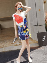 Dress Autumn of 2019 Two piece set S M L XL Short skirt Two piece set Short sleeve street Crew neck middle-waisted Decor Socket A-line skirt routine Others 18-24 years old Type X City of fragrance AF66836 More than 95% polyester fiber Polyethylene terephthalate (polyester) 100% Europe and America