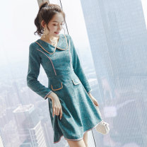 Dress Winter of 2019 Picture color S M L XL Mid length dress singleton  Long sleeves commute other middle-waisted zipper A-line skirt routine Others 18-24 years old Type X City of fragrance Korean version AF7082 More than 95% polyester fiber Polyester 100% Pure e-commerce (online only)