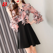 Dress Summer of 2019 Decor S M L XL Middle-skirt Fake two pieces Nine point sleeve commute V-neck middle-waisted Decor zipper A-line skirt Lotus leaf sleeve 30-34 years old Type A Ba Shili lady Pleated zipper print B191QD-8378 More than 95% Chiffon polyester fiber Polyester 100%