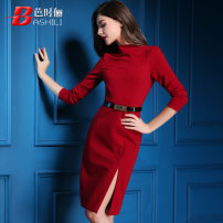 Dress Fall 2017 gules S M L XL XXL Middle-skirt singleton  Nine point sleeve commute Half open collar middle-waisted Solid color zipper One pace skirt routine Others 30-34 years old Type X Ba Shili Ol style Lace up zipper print B170-X582 30% and below other nylon Pure e-commerce (online only)
