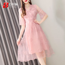 Dress Summer of 2019 Pink S M L XL Mid length dress singleton  elbow sleeve commute V-neck middle-waisted Solid color Socket A-line skirt pagoda sleeve 30-34 years old Type A Ba Shili lady Embroidered mesh zipper More than 95% organza  polyester fiber Polyester 100% Pure e-commerce (online only)