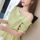 shirt Green, white S,M,L,XL Summer 2021 polyester fiber 81% (inclusive) - 90% (inclusive) Short sleeve commute Regular One word collar zipper routine Solid color 25-29 years old Self cultivation Korean version Lace up, stitching Chiffon