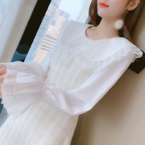Dress Autumn of 2019 Picture color, white 1215 S,M,L,XL Mid length dress singleton  Long sleeves commute Doll Collar High waist lattice Socket A-line skirt pagoda sleeve Others 25-29 years old Type A Korean version Ruffles, pleats, stitching, zippers other
