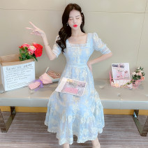 Dress Summer 2020 Apricot, blue, light pink S,M,L,XL Miniskirt singleton  elbow sleeve commute One word collar High waist other Three buttons Big swing routine Others 18-24 years old Type A Korean version Three dimensional decoration swy3361 51% (inclusive) - 70% (inclusive) other other