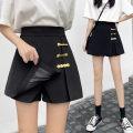 Casual pants black S,M,L,XL,2XL,3XL,4XL Spring 2021 shorts Wide leg pants High waist Versatile routine 91% (inclusive) - 95% (inclusive) other Button polyester fiber Asymmetry