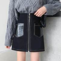 skirt Winter 2020 S,M,L,XL,2XL,3XL,4XL black Short skirt commute Natural waist A-line skirt Solid color Type A 25-29 years old other Deer skin Pocket, zipper, stitching Korean version