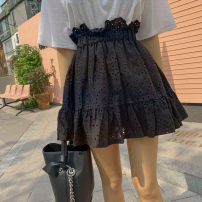 skirt Summer 2021 M,L,XL,2XL,3XL,4XL black Short skirt Versatile High waist Pleated skirt Solid color Type A More than 95% Lace other Ruffles, stitches, lace