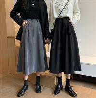 skirt Autumn 2020 M,L,XL,2XL,3XL,4XL Black, gray longuette commute High waist A-line skirt Solid color Type A other polyester fiber Folds, pockets, buttons, zippers Korean version