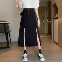 skirt Summer 2021 M,L,XL,2XL,3XL,4XL black Mid length dress commute High waist A-line skirt Solid color Type A More than 95% Chiffon other Button, zipper, elastic waist Korean version