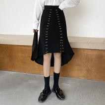 skirt Spring 2021 S,M,L,XL,2XL,3XL,4XL black Mid length dress Versatile High waist A-line skirt Solid color Type A More than 95% other other Nail bead, zipper