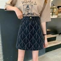 skirt Summer 2020 S,M,L,XL,2XL,3XL,4XL Picture color Short skirt Versatile High waist Denim skirt Solid color Type A 91% (inclusive) - 95% (inclusive) Denim Diamond, pocket, zipper