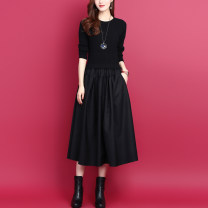 Dress Autumn 2020 Black, red, top 10 order a day, give a necklace S,M,L,XL,2XL Mid length dress Fake two pieces Long sleeves commute Crew neck Elastic waist Solid color Socket A-line skirt routine Others Type A Korean version Pockets, stitching WS12 51% (inclusive) - 70% (inclusive) knitting wool