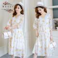 Dress Other / other white M,L,XL,XXL leisure time elbow sleeve Medium length summer V-neck Decor Chiffon
