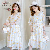 Dress Other / other white M,L,XL,XXL leisure time elbow sleeve Medium length summer V-neck Decor Chiffon