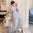 Dress Other / other Light blue M,L,XL,XXL ethnic style Short sleeve have more cash than can be accounted for summer V-neck Decor Chiffon