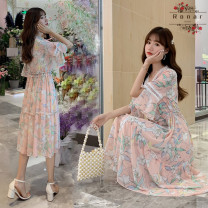 Dress Other / other Light blue, pink M,L,XL,XXL,XXXL Korean version Short sleeve have more cash than can be accounted for summer V-neck Decor Chiffon