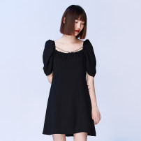 Dress Summer 2020 black S,M,L Short skirt singleton  Short sleeve commute One word collar High waist Solid color A-line skirt Horn sleeve 18-24 years old Type A CUUDICLAB Retro Hollow, open back, fold, splicing, three-dimensional decoration More than 95% polyester fiber