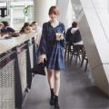 Dress Autumn of 2019 blue L,XL,2XL,3XL,4XL Middle-skirt singleton  Long sleeves commute V-neck Loose waist lattice Socket A-line skirt Type A Other / other Korean version Fungus, lace up