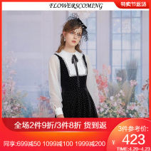Dress Spring 2021 black S M L XL XXL Short skirt singleton  Long sleeves commute Doll Collar High waist other Socket Princess Dress bishop sleeve 25-29 years old Flowerscoming Retro Bowknot pleated gauze net lace silver wave point FKCL304 91% (inclusive) - 95% (inclusive) polyester fiber